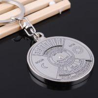 Брелок для ключей с вечным календарем на 50 лет, брелок для ключей из серебряного сплава, брелок для ключей 6RMA